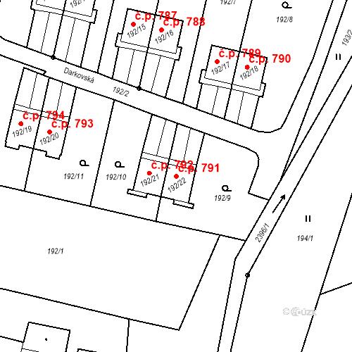 Katastrální mapa Stavební objekt Albrechtice 791, Albrechtice