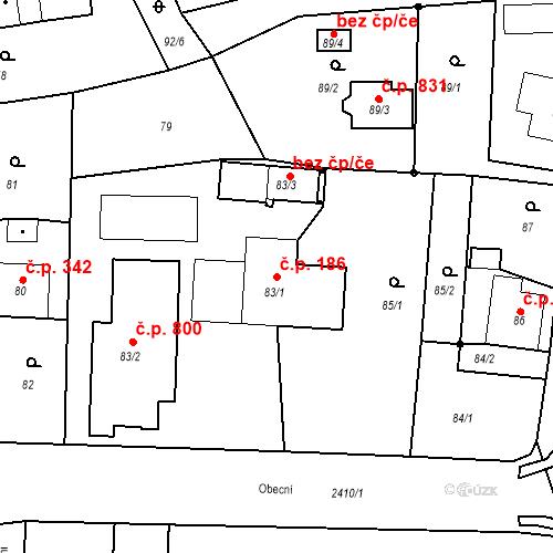 Katastrální mapa Stavební objekt Albrechtice 186, Albrechtice