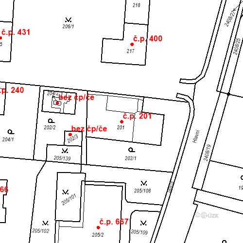 Katastrální mapa Stavební objekt Albrechtice 201, Albrechtice