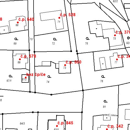 Katastrální mapa Stavební objekt Albrechtice 500, Albrechtice