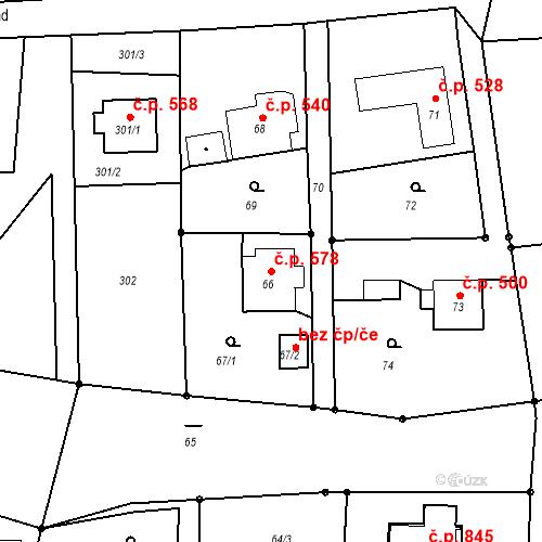 Katastrální mapa Stavební objekt Albrechtice 578, Albrechtice