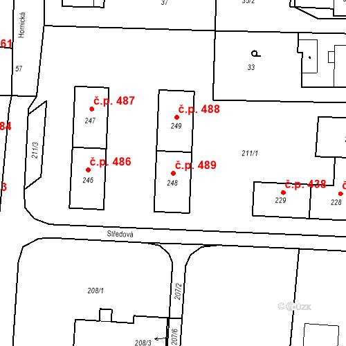 Katastrální mapa Stavební objekt Albrechtice 489, Albrechtice