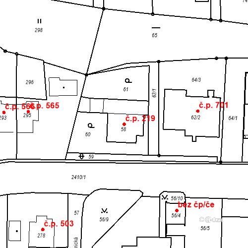 Katastrální mapa Stavební objekt Albrechtice 219, Albrechtice