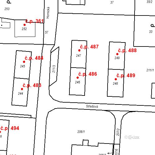 Katastrální mapa Stavební objekt Albrechtice 486, Albrechtice