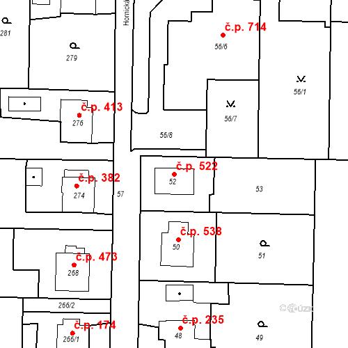 Katastrální mapa Stavební objekt Albrechtice 522, Albrechtice