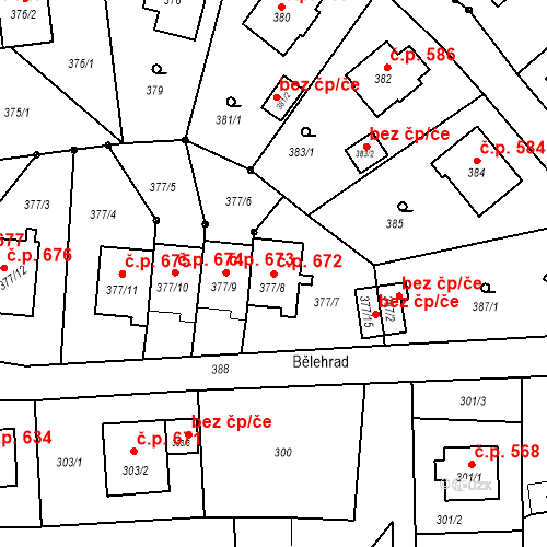Katastrální mapa Stavební objekt Albrechtice 672, Albrechtice
