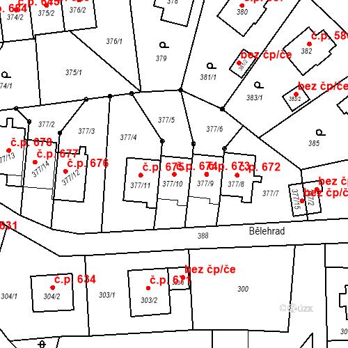 Katastrální mapa Stavební objekt Albrechtice 674, Albrechtice