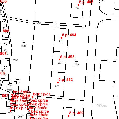 Katastrální mapa Stavební objekt Albrechtice 493, Albrechtice
