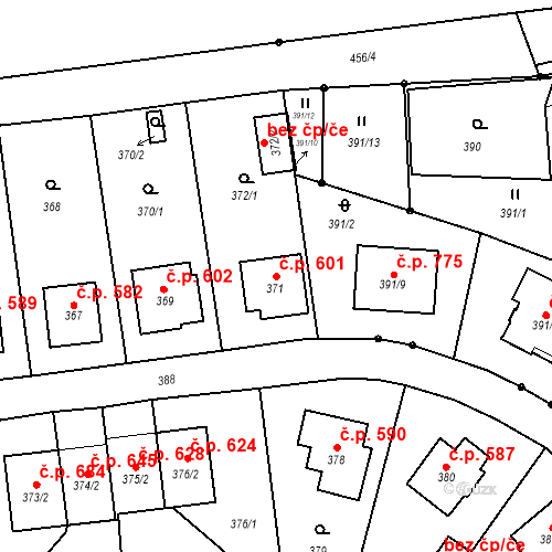Katastrální mapa Stavební objekt Albrechtice 601, Albrechtice