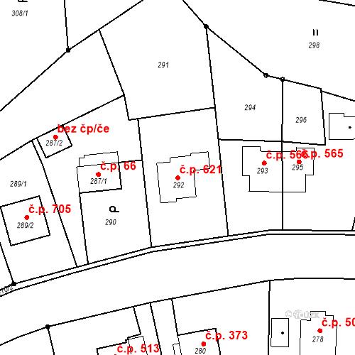 Katastrální mapa Stavební objekt Albrechtice 621, Albrechtice