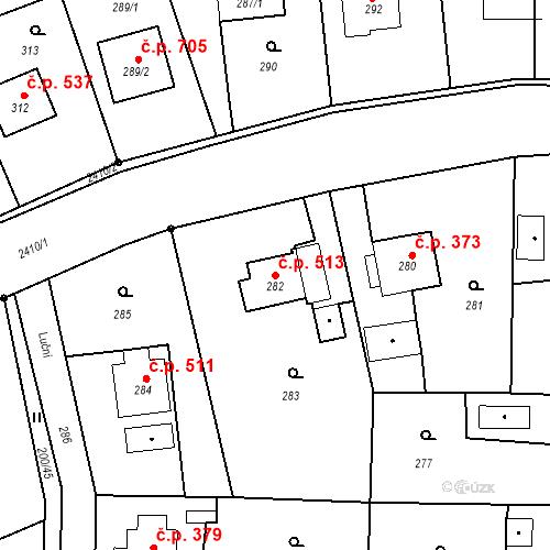 Katastrální mapa Stavební objekt Albrechtice 513, Albrechtice