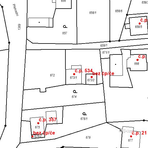 Katastrální mapa Stavební objekt Albrechtice 534, Albrechtice