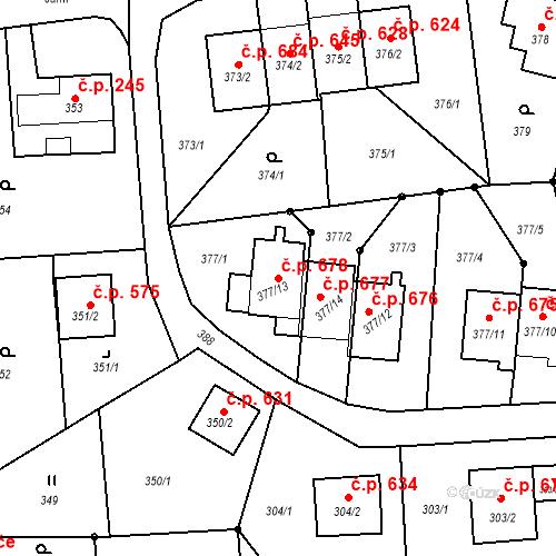 Katastrální mapa Stavební objekt Albrechtice 678, Albrechtice