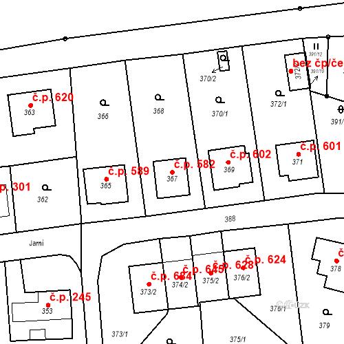 Katastrální mapa Stavební objekt Albrechtice 582, Albrechtice