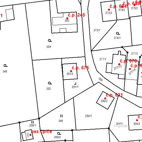 Katastrální mapa Stavební objekt Albrechtice 575, Albrechtice