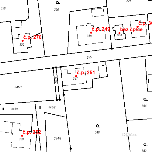 Katastrální mapa Stavební objekt Albrechtice 251, Albrechtice