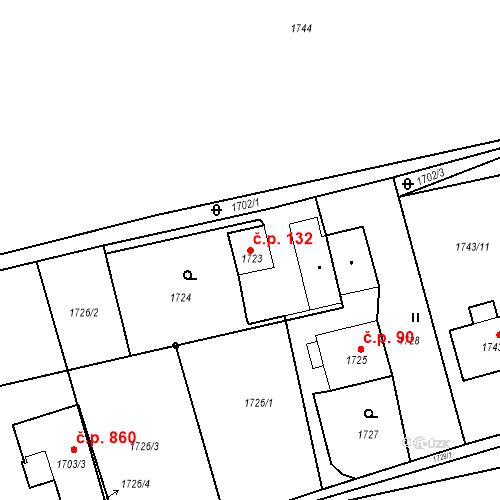 Katastrální mapa Stavební objekt Albrechtice 132, Albrechtice