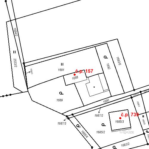 Katastrální mapa Stavební objekt Albrechtice 157, Albrechtice