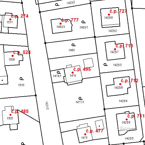 Katastrální mapa Stavební objekt Albrechtice 495, Albrechtice