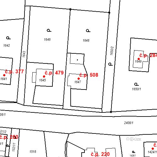 Katastrální mapa Stavební objekt Albrechtice 508, Albrechtice