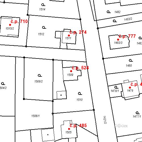 Katastrální mapa Stavební objekt Albrechtice 524, Albrechtice