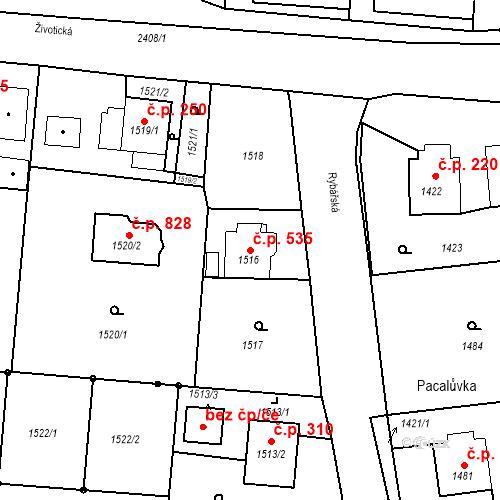 Katastrální mapa Stavební objekt Albrechtice 535, Albrechtice