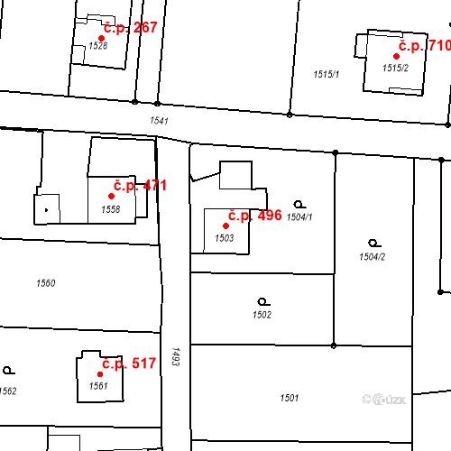 Katastrální mapa Stavební objekt Albrechtice 496, Albrechtice
