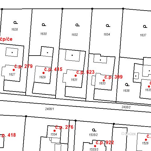 Katastrální mapa Stavební objekt Albrechtice 523, Albrechtice