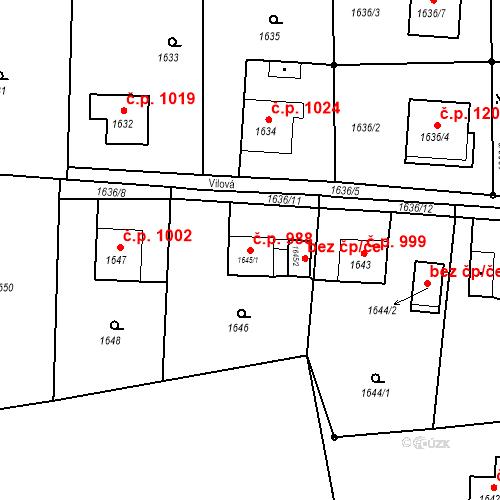 Katastrální mapa Stavební objekt Horní Suchá 988, Horní Suchá
