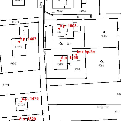 Katastrální mapa Stavební objekt Horní Suchá 1206, Horní Suchá
