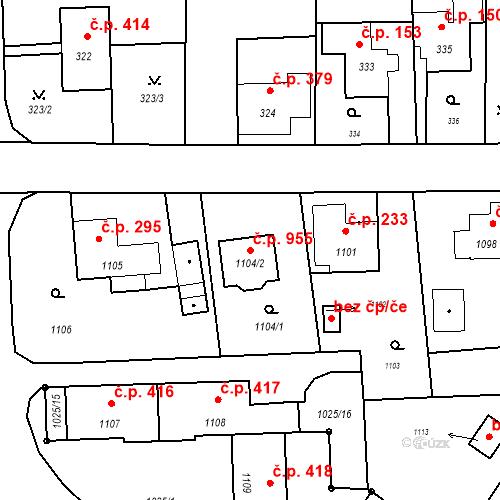 Katastrální mapa Stavební objekt Horní Těrlicko 955, Těrlicko