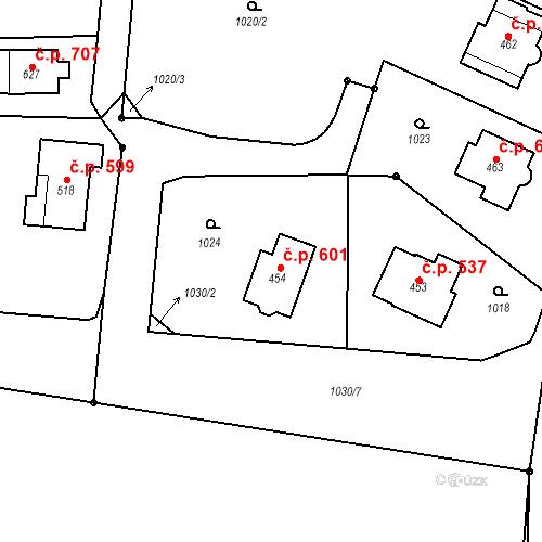 Katastrální mapa Stavební objekt Prostřední Bludovice 601, Horní Bludovice