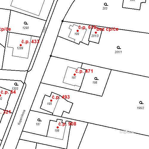 Katastrální mapa Stavební objekt Dolní Lutyně 471, Dolní Lutyně
