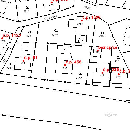 Katastrální mapa Stavební objekt Dolní Lutyně 456, Dolní Lutyně