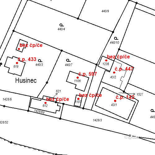 Katastrální mapa Stavební objekt Raškovice 597, Raškovice