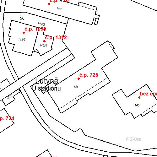 Katastrální mapa Stavební objekt Lutyně 725, Orlová