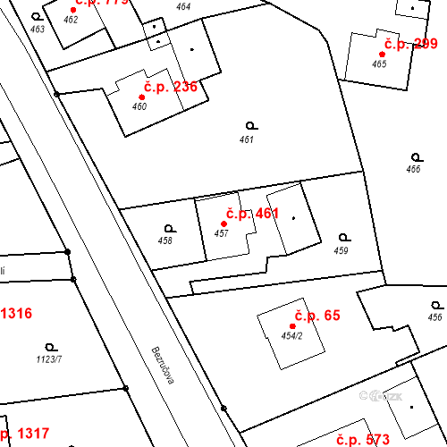 Katastrální mapa Stavební objekt Dolní Lutyně 461, Dolní Lutyně