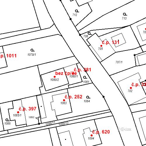 Katastrální mapa Stavební objekt Dolní Lutyně 381, Dolní Lutyně