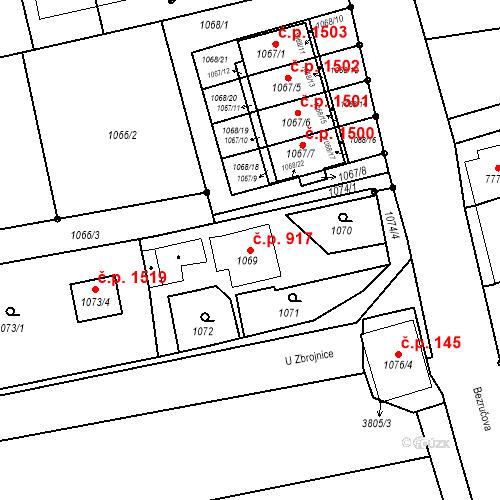 Katastrální mapa Stavební objekt Dolní Lutyně 917, Dolní Lutyně