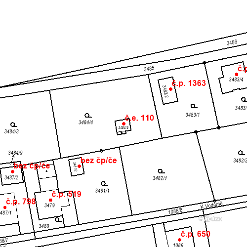 Katastrální mapa Stavební objekt Dolní Lutyně 110, Dolní Lutyně