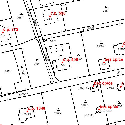 Katastrální mapa Stavební objekt Dolní Lutyně 449, Dolní Lutyně
