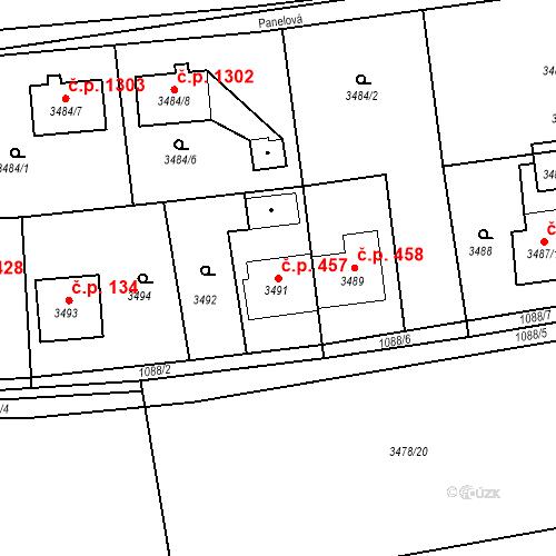 Katastrální mapa Stavební objekt Dolní Lutyně 457, Dolní Lutyně