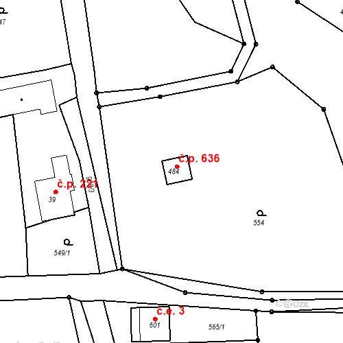 Katastrální mapa Stavební objekt Horní Bludovice 636, Horní Bludovice