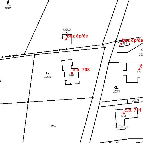 Katastrální mapa Stavební objekt Prostřední Bludovice 708, Horní Bludovice