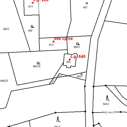 Katastrální mapa Stavební objekt Horní Bludovice 640, Horní Bludovice