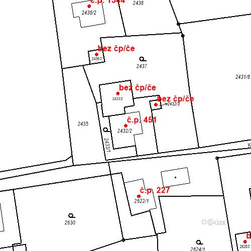 Katastrální mapa Stavební objekt Dolní Lutyně 451, Dolní Lutyně