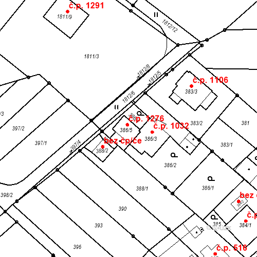 Katastrální mapa Stavební objekt Poruba 1276, Orlová
