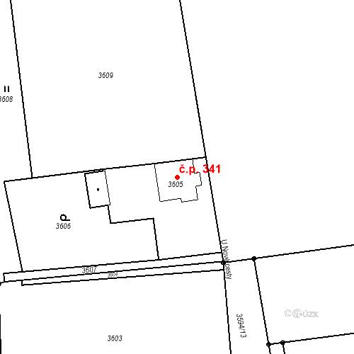 Katastrální mapa Stavební objekt Dolní Lutyně 341, Dolní Lutyně