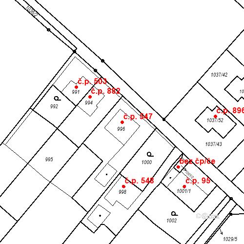 Katastrální mapa Stavební objekt Skřečoň 547, Bohumín