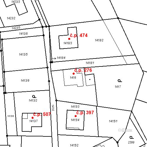 Katastrální mapa Stavební objekt Záblatí 276, Bohumín